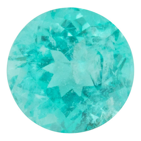 Brazilian Paraiba Tourmaline Gemstone in Round Cut, 1.28 carats, 6.79 mm Displays Vivid Blue-Green Color - AGL Cert