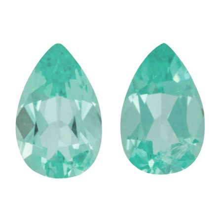 Loose Paraiba Tourmaline Well Matched Gem Pair in Pear Cut, 1.6 carats, 8 x 5 mm Displays Pure Blue-Green Color - DSEF Cert
