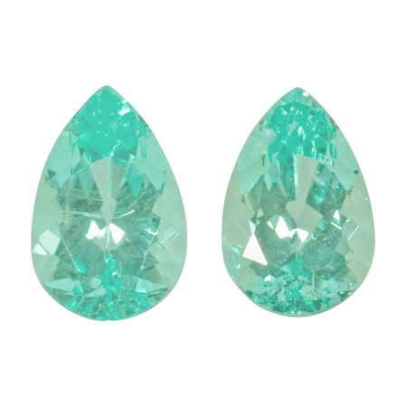 Loose Paraiba Tourmaline Gem Pair in Pear Cut, 2.65 carats, 9.10 x 6 mm Greenish Bluish  Color - DSEF Cert