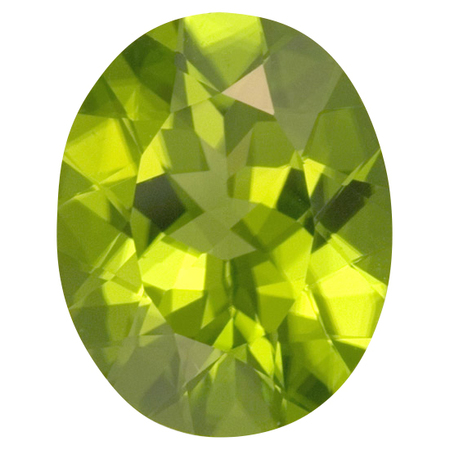 Loose Peridot Gemstone in Oval Cut, 8.78 carats, 15.46 x 12.38 mm Displays Rich Green Color