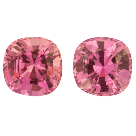 Loose No Heat Pink Sapphire Well Matched Gem Pair in Antique Cushion Cut, 2.01 carats, 5.60 mm Displays Rich Pink Color - AGL Cert