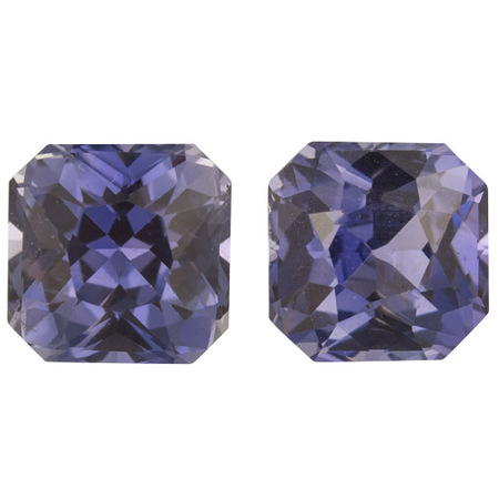 Loose No Heat Purple Sapphire Well Matched Gem Pair in Radiant Cut, 2.79 carats, 5.90 mm Displays Rich Purple Color - TGL Cert