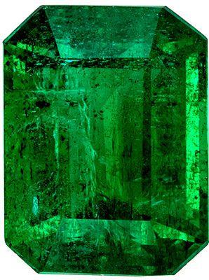 Lovely Emerald Genuine Gem, Rich Grass Green, Emerald Cut, 10 x 7.6 mm, 3.45 carats