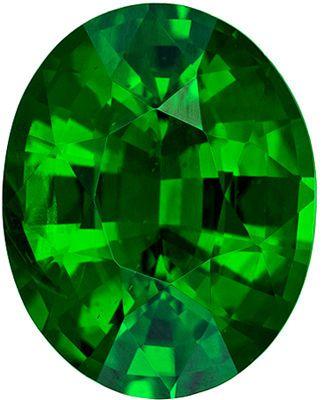 Lovely Genuine Loose Tsavorite Gemstone in Oval Cut, 1.62 carats, Medium Grass Green, 8.1 x 6.6 mm
