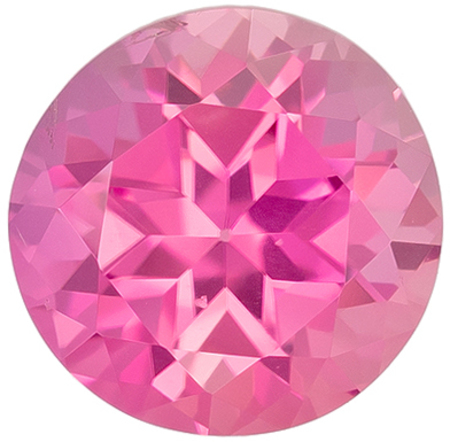 Lovely Genuine Pink Tourmaline Gem in Round Cut, 6.3 mm in Gorgeous Medium Pure Pink, 1.03 carats