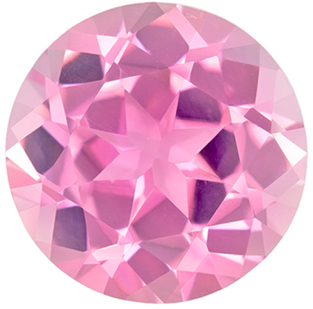 Lovely Genuine Pink Tourmaline Gem in Round Cut, 9.2 mm in Gorgeous Vivid Pure Pink, 2.78 carats
