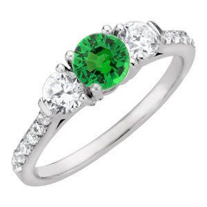 Lovely Round Bright Green 1 carat 6mm Tsavorite Garnet Engagement Ring - Diamond Side Gems and Diamond Accents Along Band