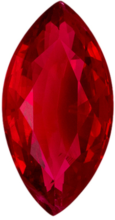 Lovely Ruby Loose Gem in Marquise Cut, 1.6 carats, Rich Red, 10.3 x 5.3 mm