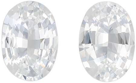 Lovely White Sapphire Matching Gemstone Pair in Oval Cut, 1.72 carats, Colorless White, 7.1 x 5 mm