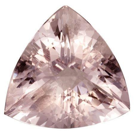 Low Price Morganite Gemstone in Trillion Cut, 20.07 carats, 19.80 mm Displays Pure Pink Color