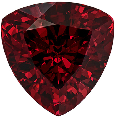 Low Price on  Rhodolite Gem in Trillion Cut, 10.6 mm in Gorgeous Rich Raspberry Red, 5.79 carats