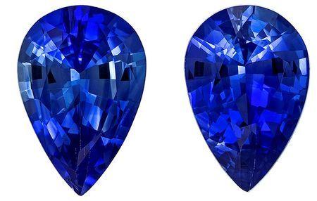 Super Fine Gem!  Blue Sapphire Genuine Gemstone, 0.82 carats, Pear Shape, 6 x 4 mm Matching Pair