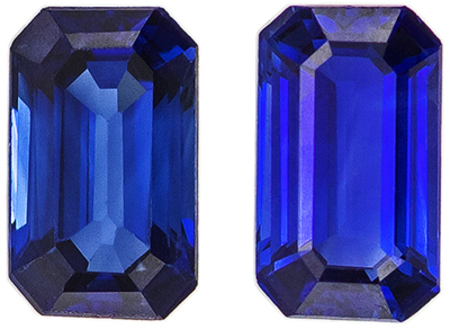 Low Price on  Well Matched Blue Sapphire Pair in Emerald Cut, 5 x 3 mm, Vivid Rich Blue Color, 0.7 carats