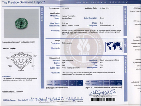 Low Price Paraiba Tourmaline Gemstone in Oval Cut, 3.46 carats, 11.03 x 8.98 x 5.53 mm Displays Rich Green Color - AGL Cert