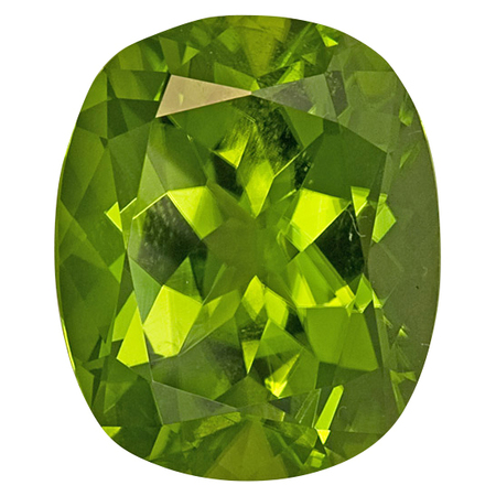 Super Fine Peridot Gemstone in Antique Cushion Cut, 12.44 carats, 15.07 x 13.53 mm Displays Rich Green Color