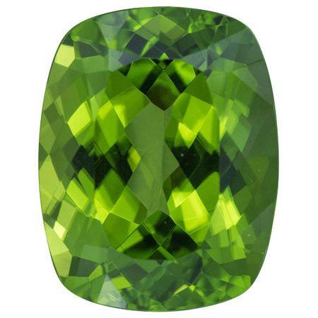 Pakistani Fine Peridot Gemstone in Antique Cushion Cut, 24.19 carats, 20.22 x 15.60 mm Displays Pure Green Color