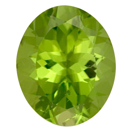 Low Price Peridot Gemstone in Oval Cut, 5.45 carats, 12.38 x 10.53 mm Displays Rich Green Color