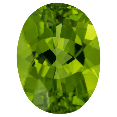 Low Price Peridot Gemstone in Oval Cut, 8.11 carats, 14.77 x 11.27 mm Displays Vivid Green Color
