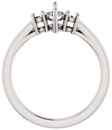 Marquise 3Stone Ring Mounting for Gemstone Size 8 x 4mm to 12 x 6mm, Round Side Gems