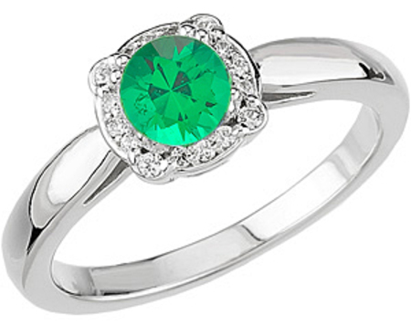 Most Popular Low Price on Cut .4ct 4.50 mm Emerald & Diamond White Gold Ring for SALE
