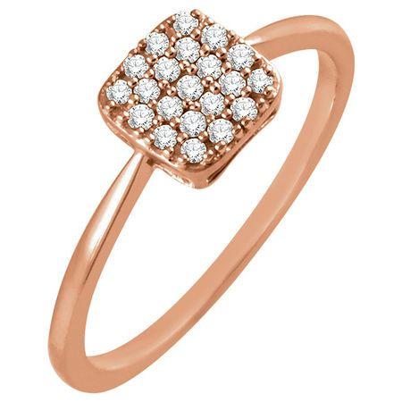 Diamond Ring in 14 Karat Rose Gold .17 Carat Diamond Square Cluster Ring