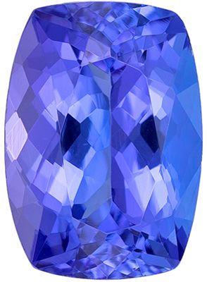 Must See Natural  Tanzanite Gem in Cushion Cut, 8.1 x 5.8 mm in Gorgeous Rich Blue Purple, 1.53 carats