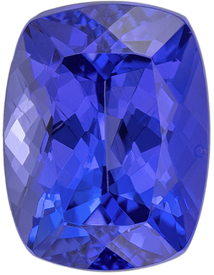Must See Natural  Tanzanite Gem in Cushion Cut, 8 x 6.1 mm in Gorgeous Rich Blue Purple, 1.72 carats