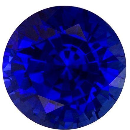 Natural Blue Sapphire Gemstone, Round Cut, 1.48 carats, 6.6 mm , AfricaGems Certified - A Fine Gem