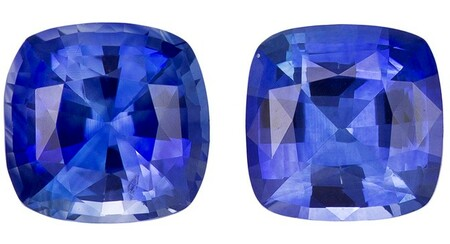 Natural Blue Sapphire Gemstones, Cushion Cut, 1.16 carats, 4.8 mm Matching Pair, AfricaGems Certified - Great for Studs