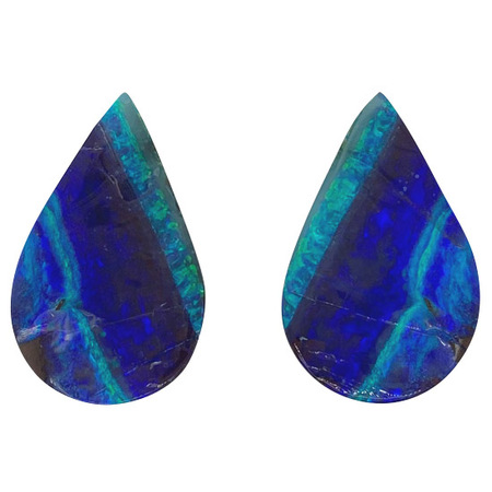 Natural Boulder Opal Well Matched Gem Pair in Pear Cut, 38.64 carats, 31 x 19 mm Displays Rich Blue-Green Color