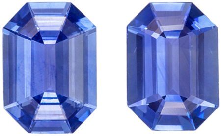 Natural Genuine Fine Blue Sapphire Well Matched Pair, Emerald Cut, Cornflower Blue, 6.9 x 4.9 mm, 1.54 carats