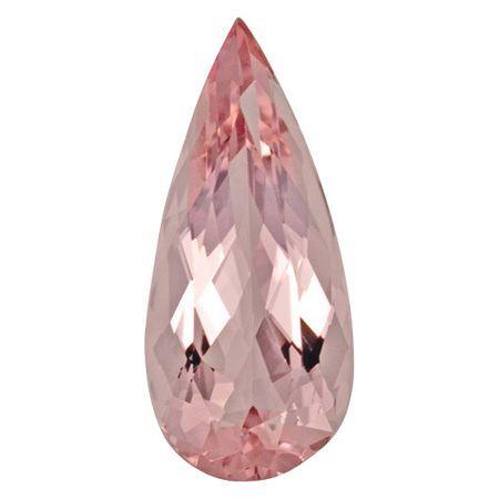 Natural Morganite Gemstone in Pear Cut, 6.64 carats, 20.23 x 9.19 mm Displays Rich Pink Color