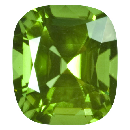 Natural Peridot Gemstone in Antique Cushion Cut, 5.71 carats, 11.06 x 10.06 mm Displays Rich Green Color