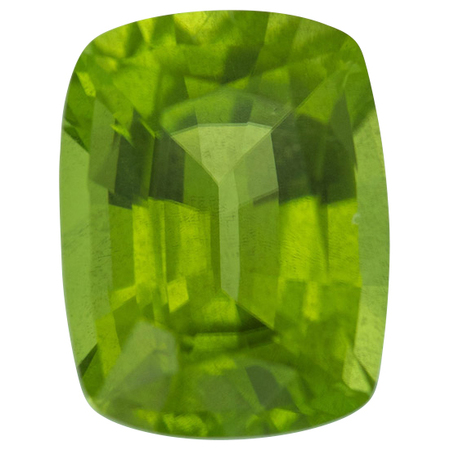 Natural Peridot Gemstone in Antique Cushion Cut, 7.12 carats, 13.07 x 10.06 mm Displays Pure Green Color