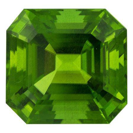 Very Rare Burma Top Gem Peridot Gemstone in Asscher Cut, 33.97 carats, 19.07 x 17.84 mm Displays Rich Green Color