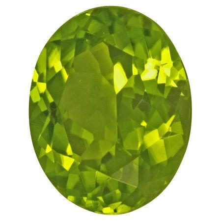 Natural Peridot Gemstone in Oval Cut, 5.82 carats, 12 x 10 mm Displays Vivid Green Color