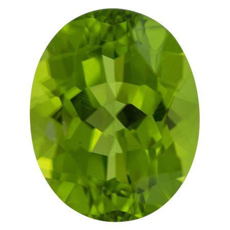 Natural Peridot Gemstone in Oval Cut, 8.09 carats, 14.11 x 11.27 mm Displays Vivid Green Color