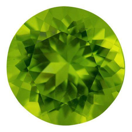 Natural Peridot Gemstone in Round Cut, 7.78 carats, 12.8 mm Displays Vivid Green Color