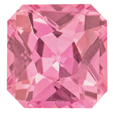 Natural Pink Sapphire Gemstone in Asscher Cut, 1.05 carats, 5.80 x 5.78 x 3.64 mm Displays Pure Pink Color