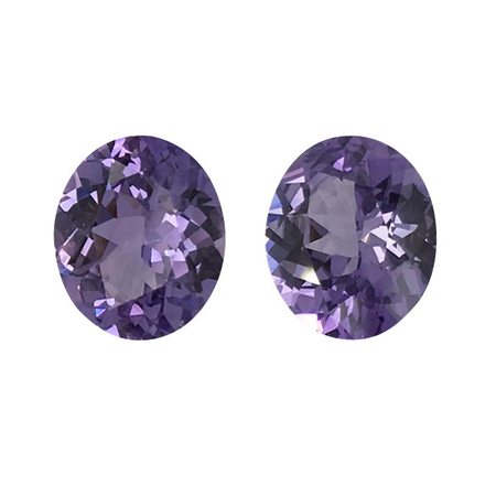 Natural Unheated Purple Sapphire Well Matched Gem Pair in Oval Cut, 4.4 carats, 9.10 x 7.50 mm Displays Vivid Purple Color