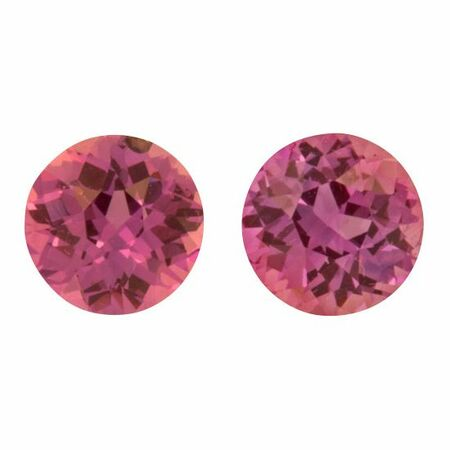 Natural Purple Sapphire Well Matched Gem Pair in Round Cut, 1.7 carats, 5.50 mm Displays Pure Purple Color