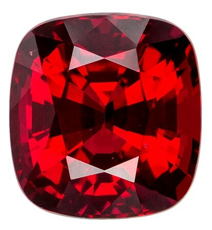 Natural Red Spinel Gemstone, Cushion Cut, 1.35 carats, 6.3 x 5.9 mm , AfricaGems Certified - A Low Price