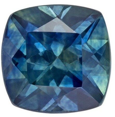 Natural Stunning  Blue Green Sapphire Gemstone, 1.03 carats, Cushion Shape, 5.5 mm, Super Fine Gem!