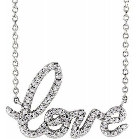 White Diamond Necklace in Necklace 1/6 Carat Diamond Love 16