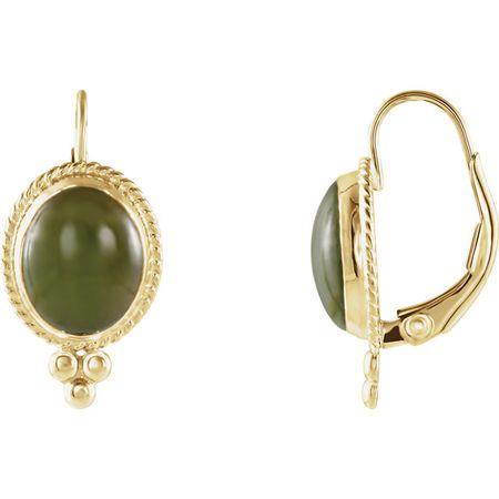 Genuine Nephrite Jade Earrings in 14 Karat Yellow Gold Nephrite Jade Cabochon Earrings