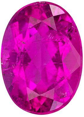 Nice Genuine Loose Pink Tourmaline Gemstone in Oval Cut, 1.21 carats, Medium Rich Pink, 7.8 x 5.6 mm