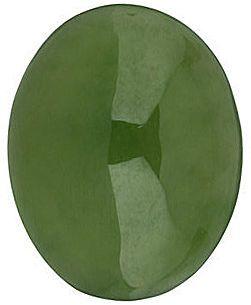 Oval Cabochon Genuine Jade in Grade AAA