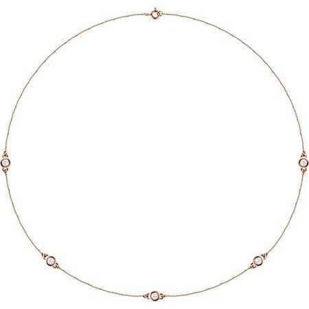 White Diamond Necklace in 14 Karat Rose Gold 3/4 Carat Diamond Bezel 18