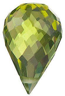 Peridot Gems in Briolette Cut