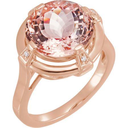 Genuine  14 Karat Rose Gold Morganite & .025 Carat Diamond Ring